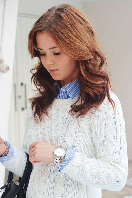 Business casual work outfit white cable knit sweater