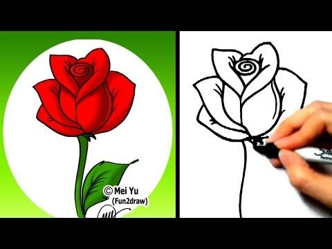 Fun To Draw This Is A Very Short Video That Teaches You How To Draw A Rose Step By Step Flower Drawing Roses Drawing Easy Flower Drawings