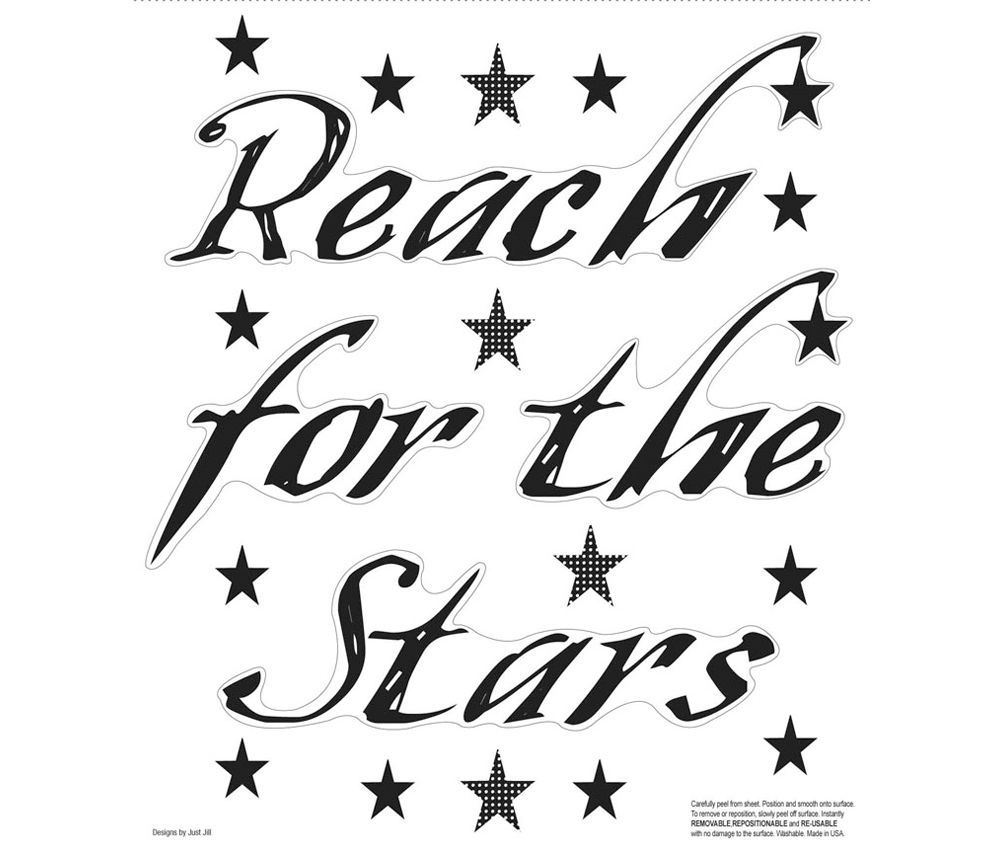 New black reach for the stars wall decals motivational quotes