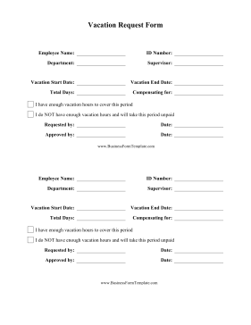 Vacation Request Forms  Free Printable  Printable Request For