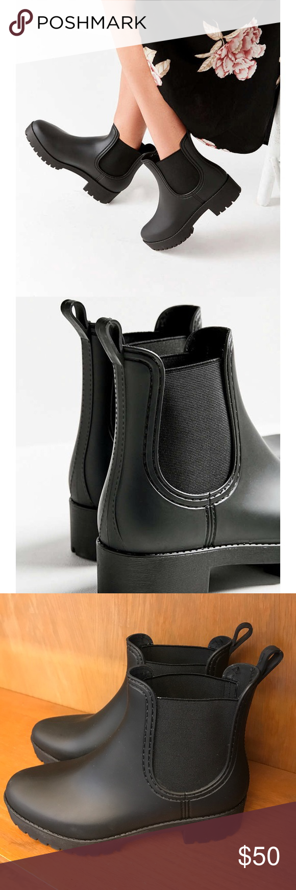 b4aa68a55 Jeffrey Campbell Cloudy rain boots — worn once!! Really nice and brand new  Size 9 Jeffrey Campbell rain boots in black! Worn once and I love them but  ...