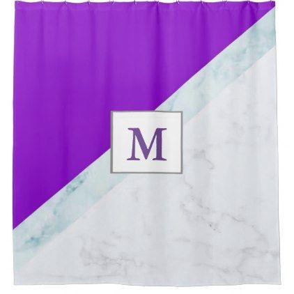 Purple With White Marble Monogram Shower Curtain Zazzle Com