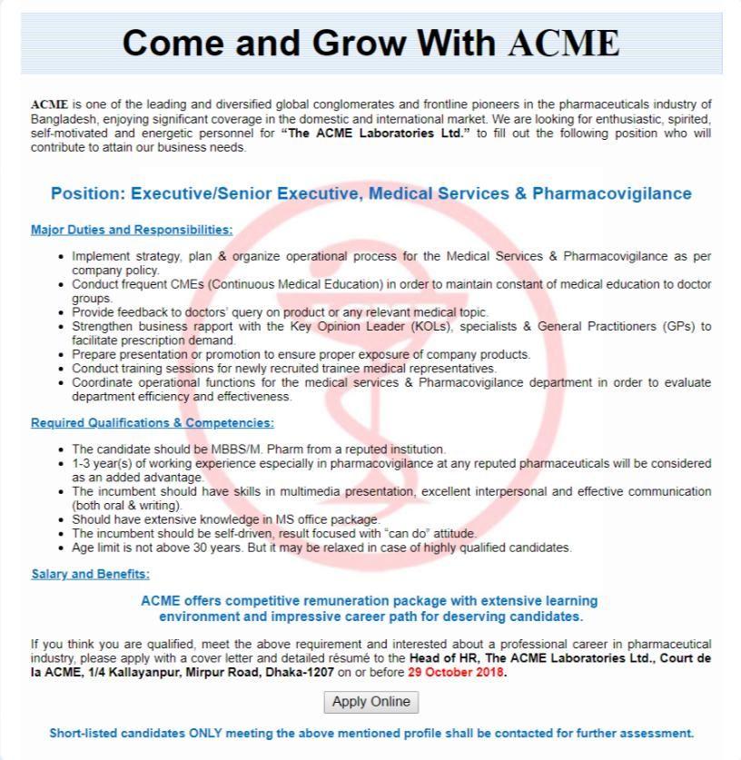 ACME Laboratories Ltd New Job Circular Apply 2018