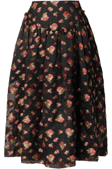 7f6ac02045 Simone Rocha - Gathered fil coupé organza midi skirt | Products ...