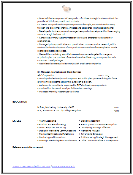 Cv Format For Marketing Manager   Career    Cv Format