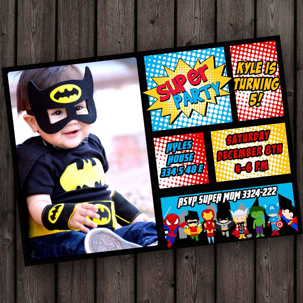 Tons Of Choices Pic Wording Customized Quick By AmysSimpleDesigns Superhero Birthday Invitations Batman