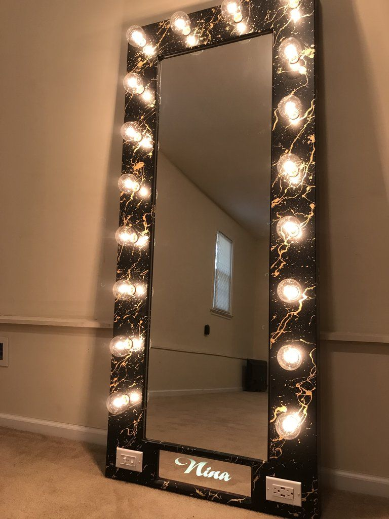 Full Length Hollywood Mirror with Name Deluxe Design