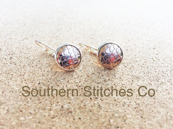 Earrings Rose Gold Mermaid Dragon Fish Scale by SouthernStitchesCo