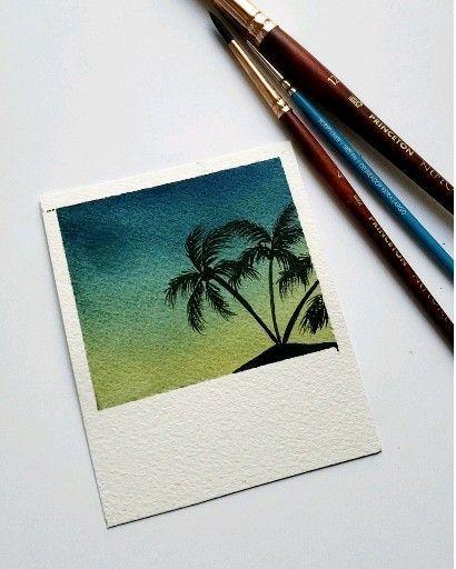 Watercolor sunset #easypaintings Easy watercolor Polaroid. #PintoWin2019