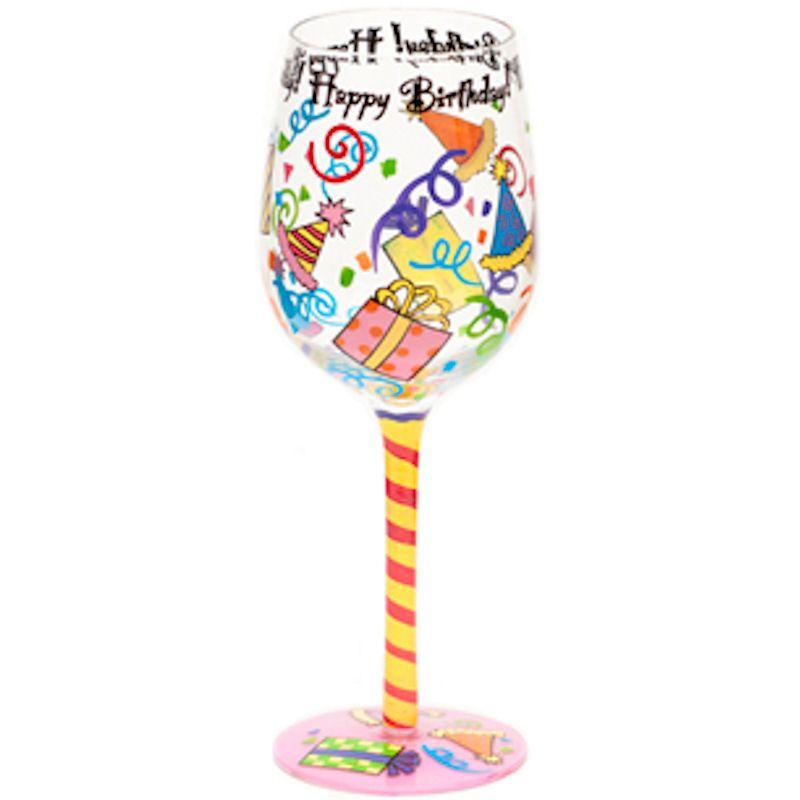 Hand Painted BIRTHDAY Wine Glasses