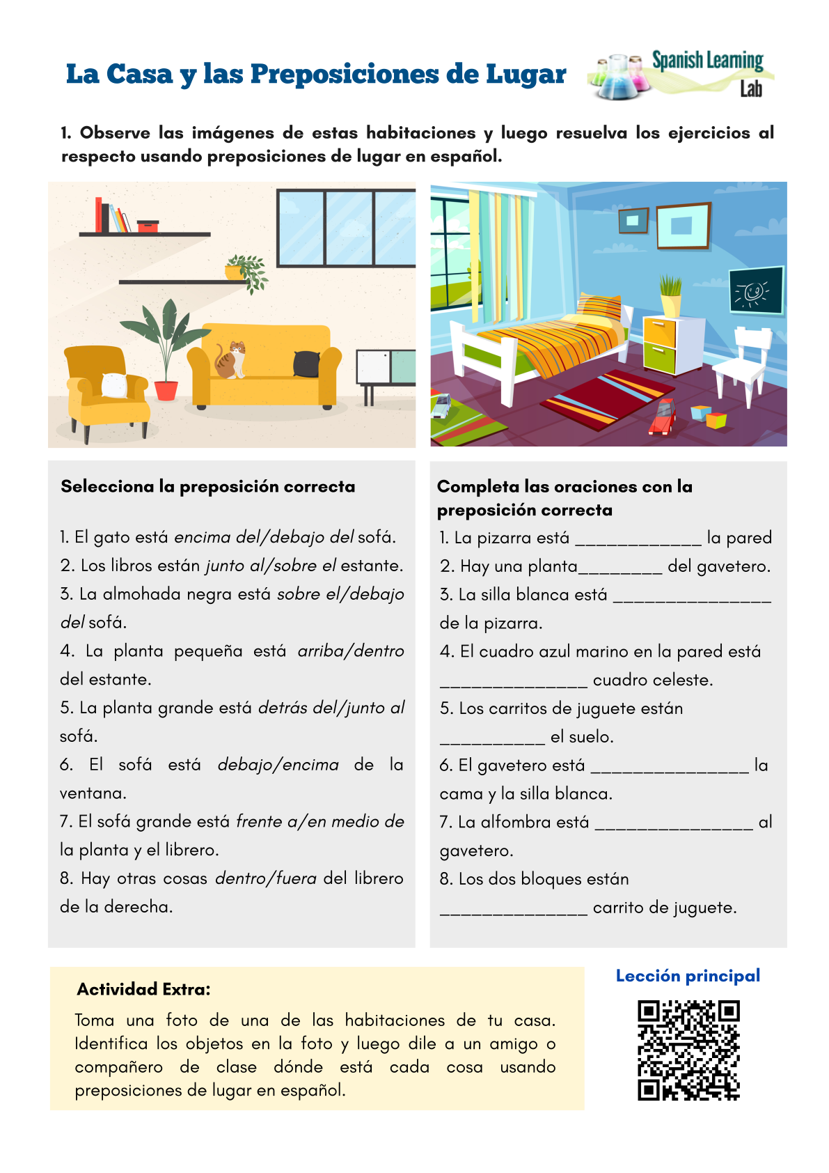 The House And Prepositions Of Place Spanish Worksheet