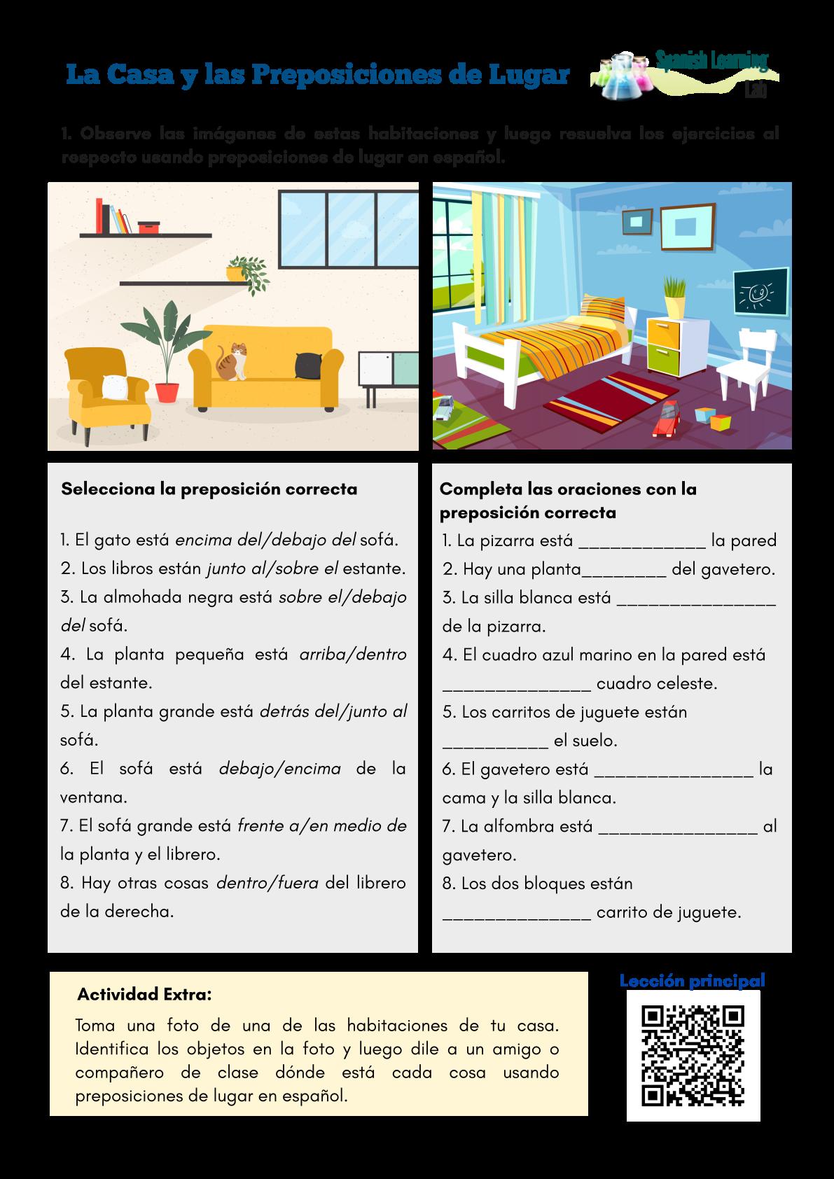 La Casa Y Las Preposiciones De Lugar En Español Hoja De Trabajo Pdf Preposiciones De Lugar Ejercicios Para Aprender Español Preposiciones Español