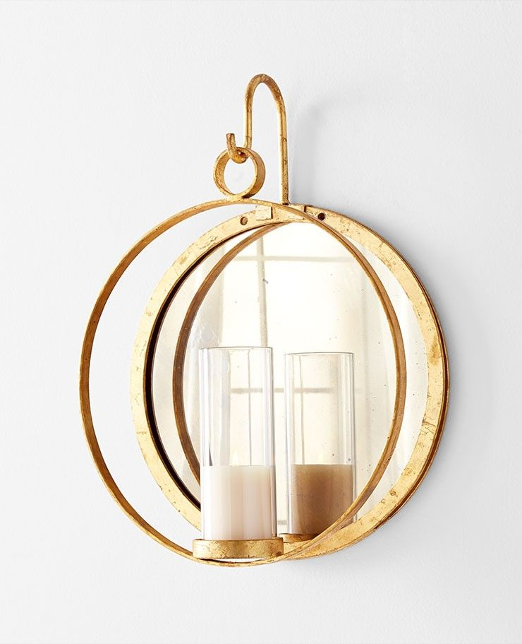 Large Circular Wall Candleholder And Mirror In Gold Leaf