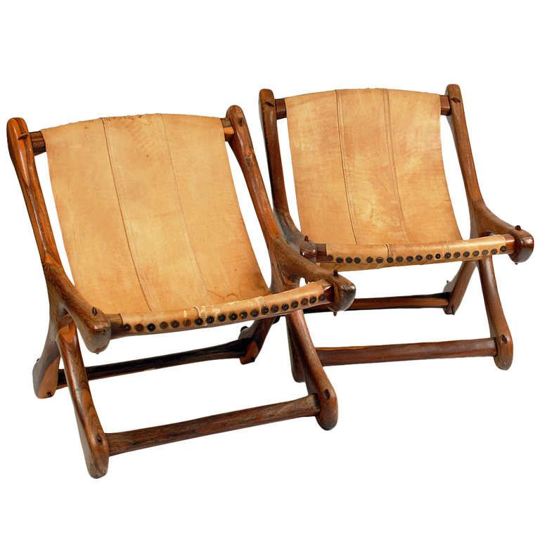 Pair Original Mid Century Mexican Don Shoemaker Sling Sloucher Chairs | From a unique collection of antique and modern chairs at http://www.1stdibs.com/furniture/seating/chairs/