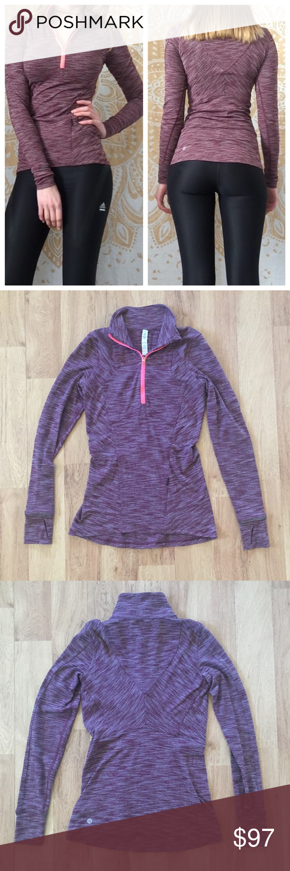 Lululemon Quarter-Zip Fitted Purple Jacket Size 2 Color is like the modeling picture, the lighting slightly affected the other pictures⚜️I love receiving offers through the offer button!⚜️ Good condition, as seen in pictures! Fast same or next day shipping! Open to offers but I don't negotiate in the comments so please use the offer button😊 lululemon athletica Jackets & Coats