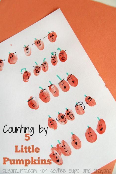 Five Little Pumpkins Counting By Fives   Fingerabdrücke