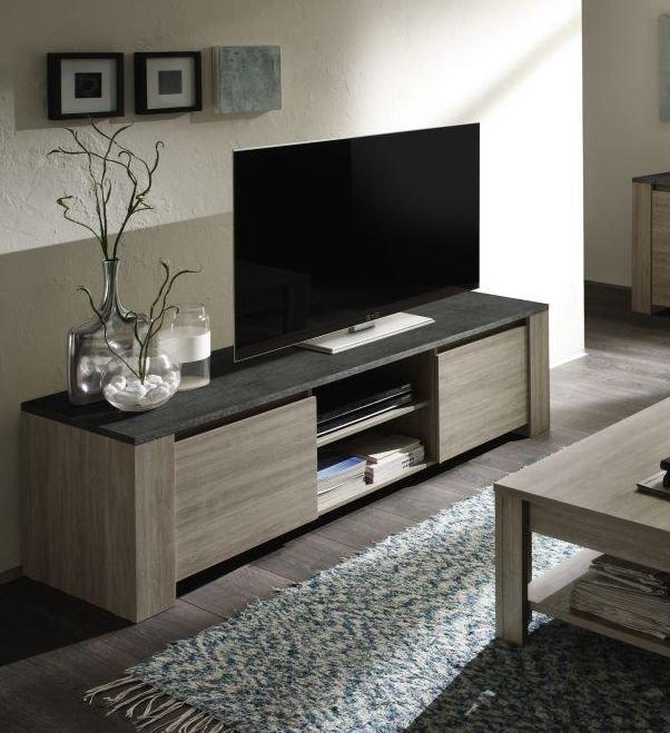 Meuble Tv Couleur Chene Gris Et Imitation Ardoise Contemporain Beryl 2 In 2020 Oak Tv Cabinet Oak Tv Unit High Gloss Furniture