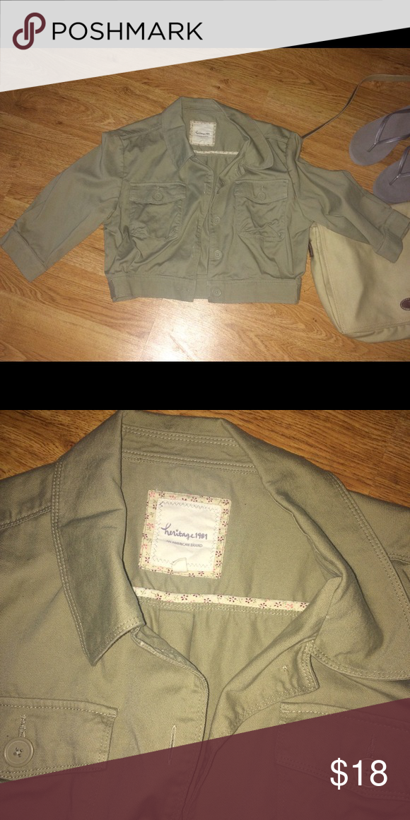 CROP JACKET WITH POCKETS OLIVE GREEN AN ESSENTIAL OVER SLEEVELESS DRESS OR TOP. EUC Heritage 1981 Jackets & Coats Utility Jackets