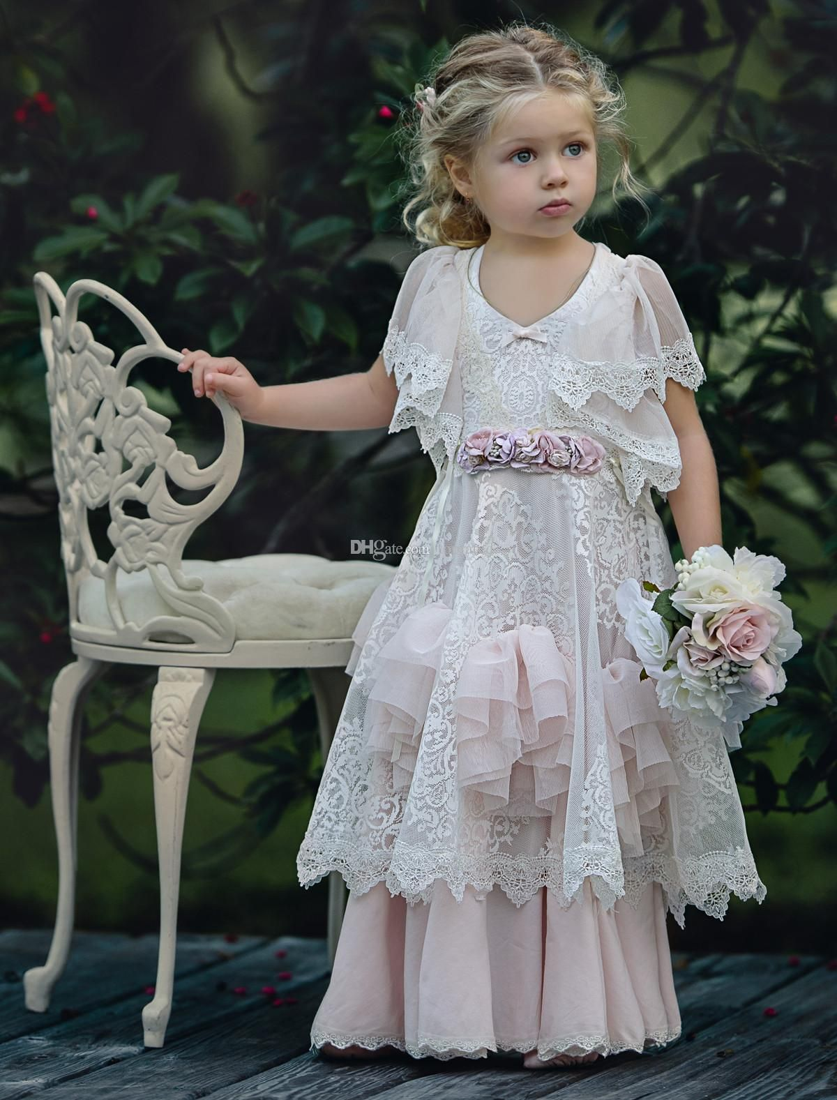 Cheap dusty pink bohemia wedding flower girl dresses jewel neck with dusty pink bohemia wedding flower girl dresses jewel neck with short sleeves vintage lace ruffles 2017 child kids birthday party dress cheap 2018 from izmirmasajfo Images