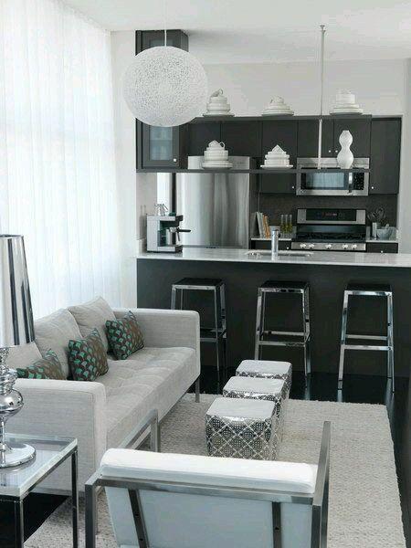 Cozinha E Sala De Estar Em Tons De Cinza E Preto Salas Pequenas Cozinha E Sala Juntas Espacos Pequenos