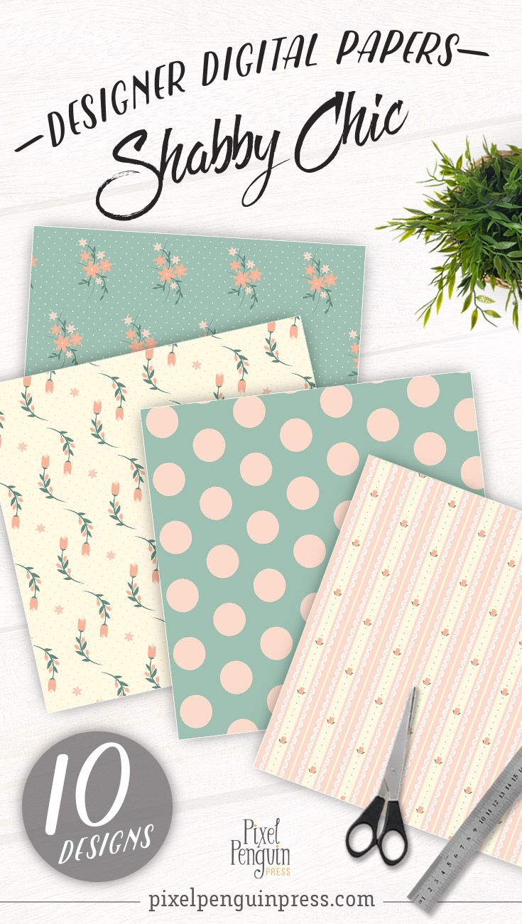 Pink Floral Shabby Chic Digital Paper, Rose Shabby Chic Scrapbook ...