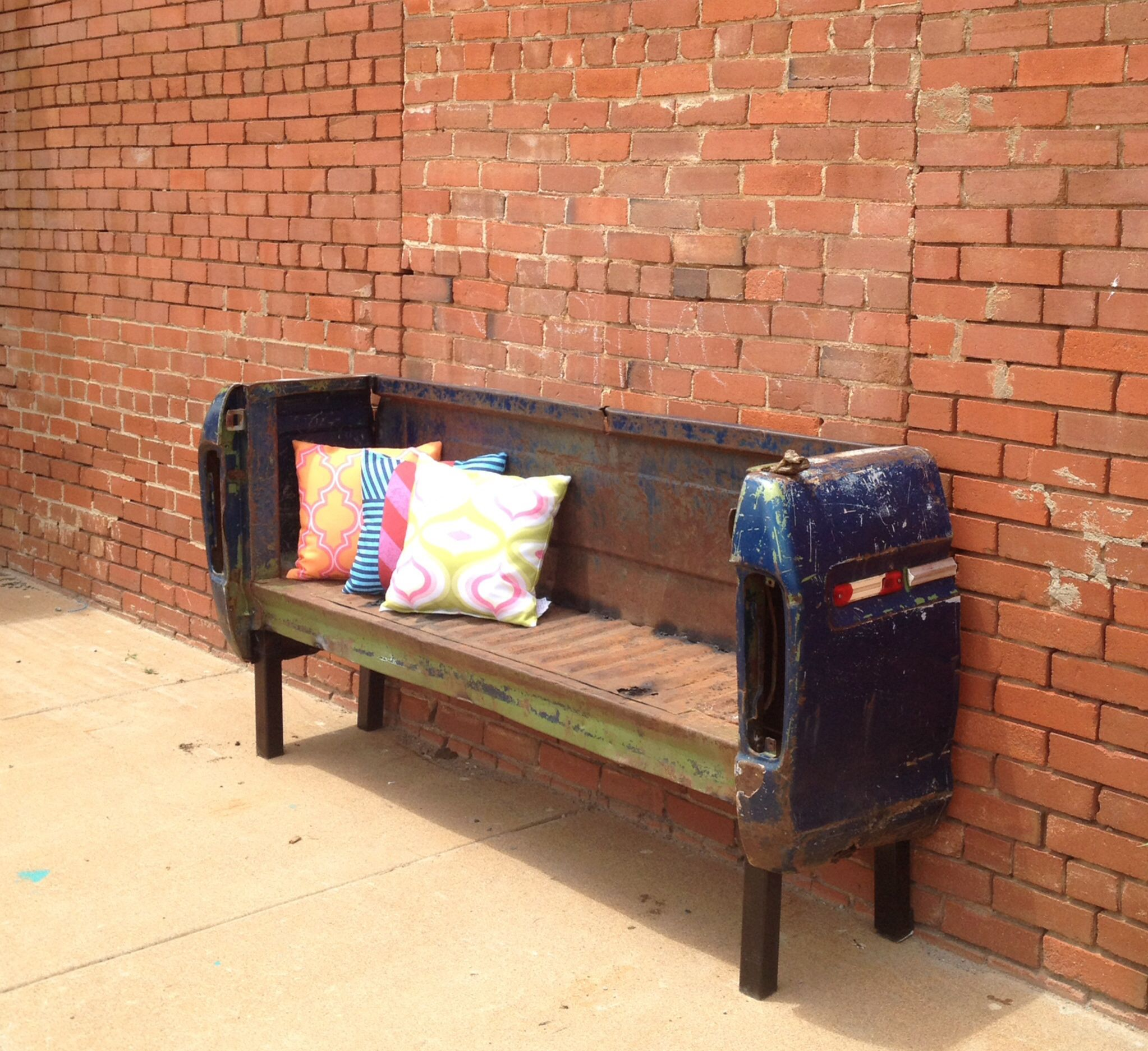 Strange Our New Sidewalk Bench Made From Our Old Truck Bed Ocoug Best Dining Table And Chair Ideas Images Ocougorg
