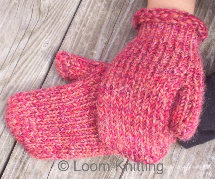Loom Knitting: Mittens Pattern Available | loom knitting | Pinterest ...