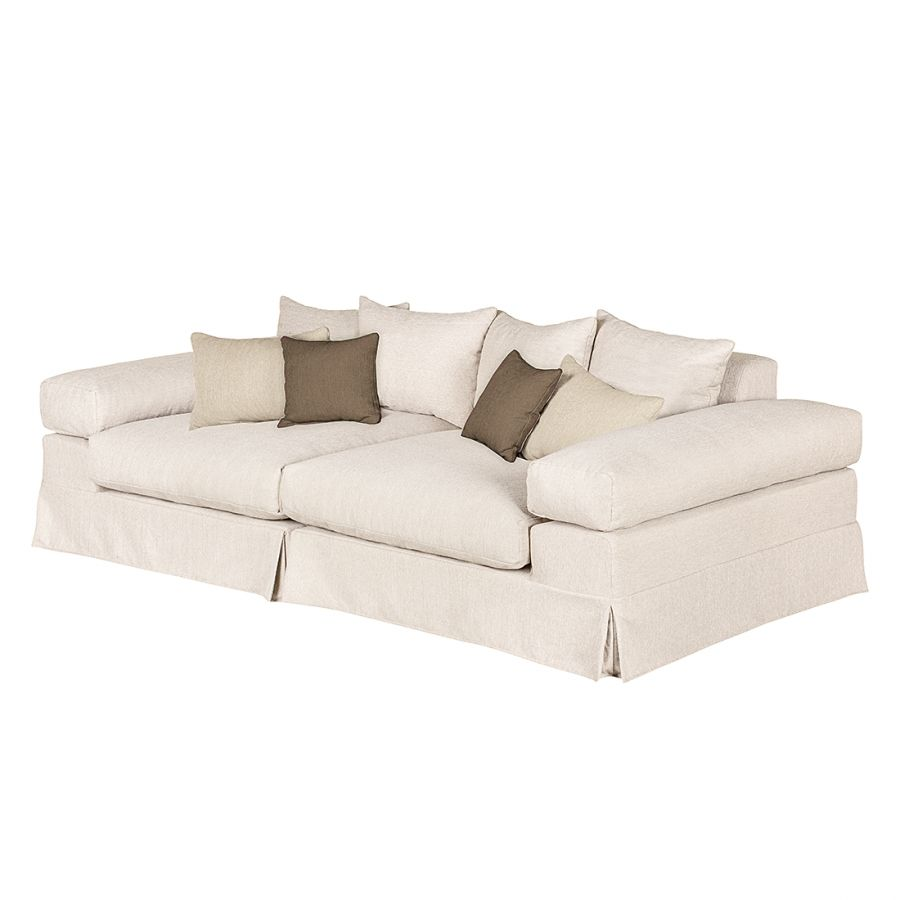 Grand canap naomi tissu beige marron hella for Canapes modulables tissus
