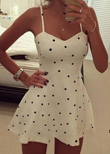 Fashion Polka Dot Print Camisole Mini Skater Dress