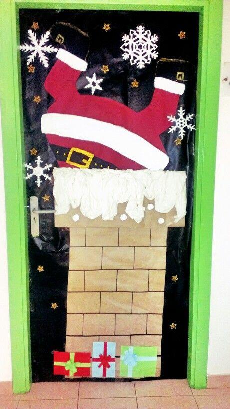 Puerta decorada pap noel navidad navidad puertas for Puertas decoradas con dinosaurios