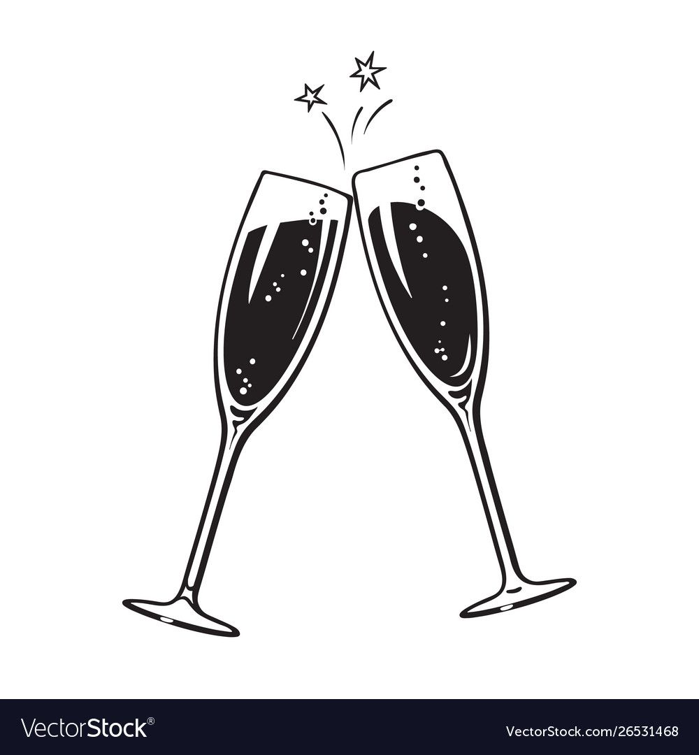 Two Sparkling Glasses Champagne Or Wine Cheers Vector Image Affiliate Champagne Glasses Sparkling Win Wine Glass Tattoo Glasses Tattoo Bottle Tattoo