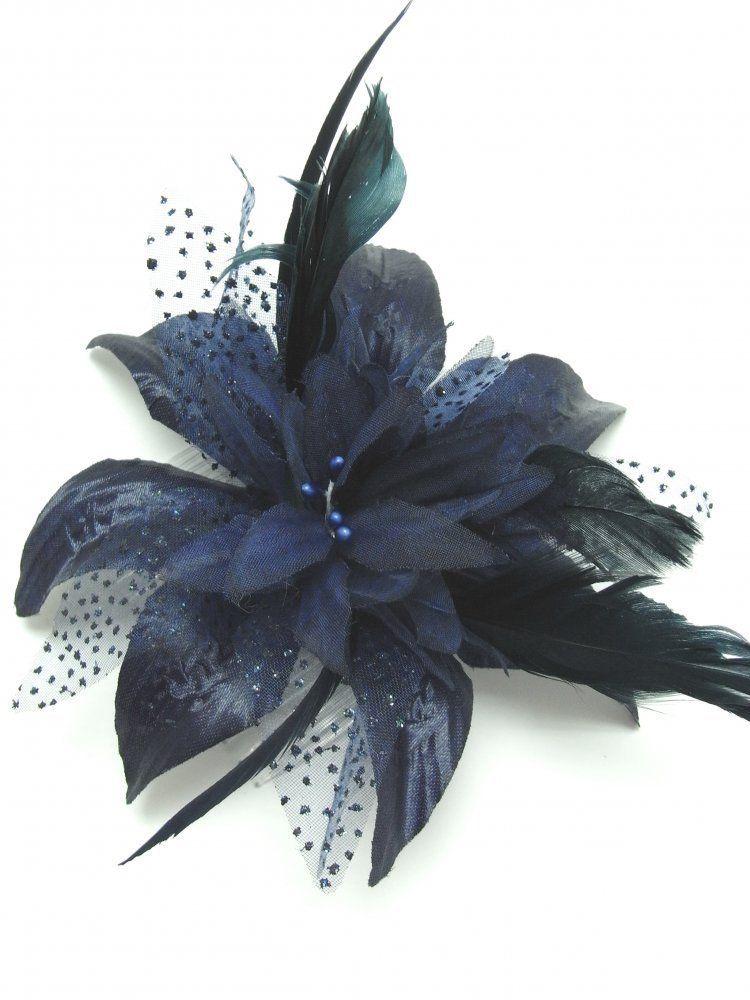styles classiques site professionnel Vente chaude 2019 Peigne à cheveux avec fleur en mousseline et plumes Bleu ...