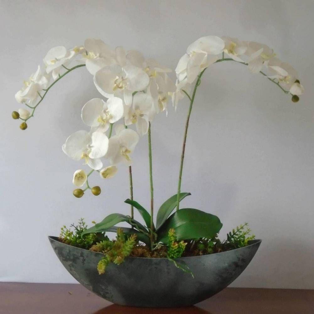 Arranjos Trio De Orquideas Decora Flores Artificiais Sua Casa Me