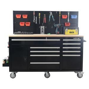 62 In 10 Drawer Tool Chest Cabinet With Pegboard Back Wall Heavy Duty Mobile Workbench In Black Mobile Workbench Tool Cabinet Tool Chest