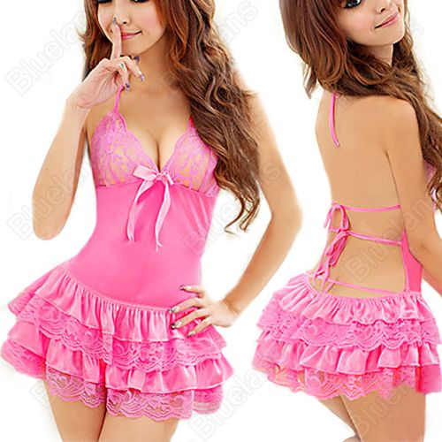 Sexy Womens Underwear Lingerie Babydoll Halter Neck Backless Dress ...