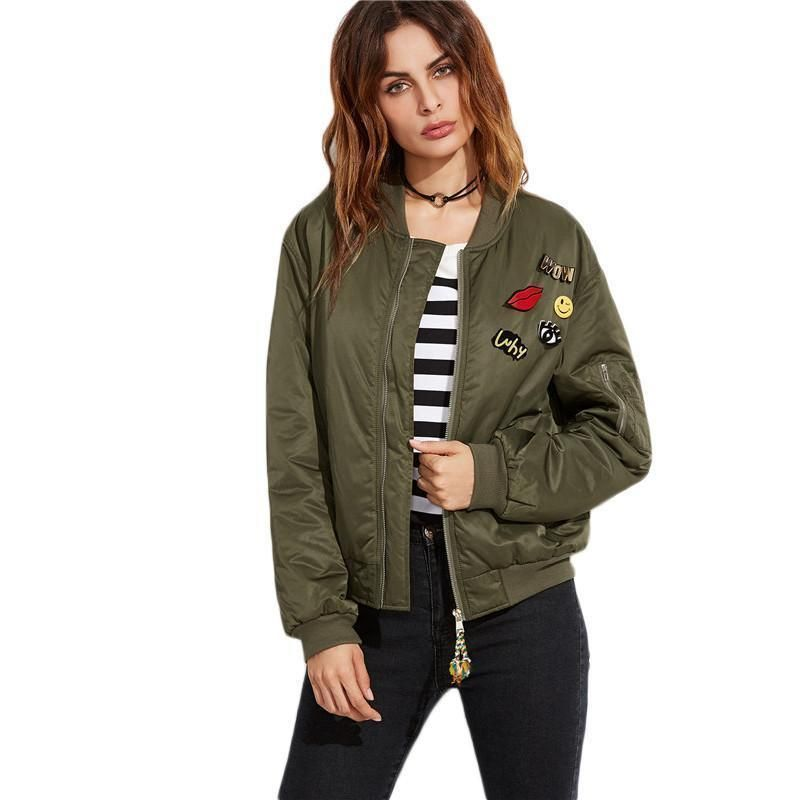 Buy Women Bomber Jacket With Patches Green Satin Jacket At LeStyleParfait.Com For Only $57.00 ...