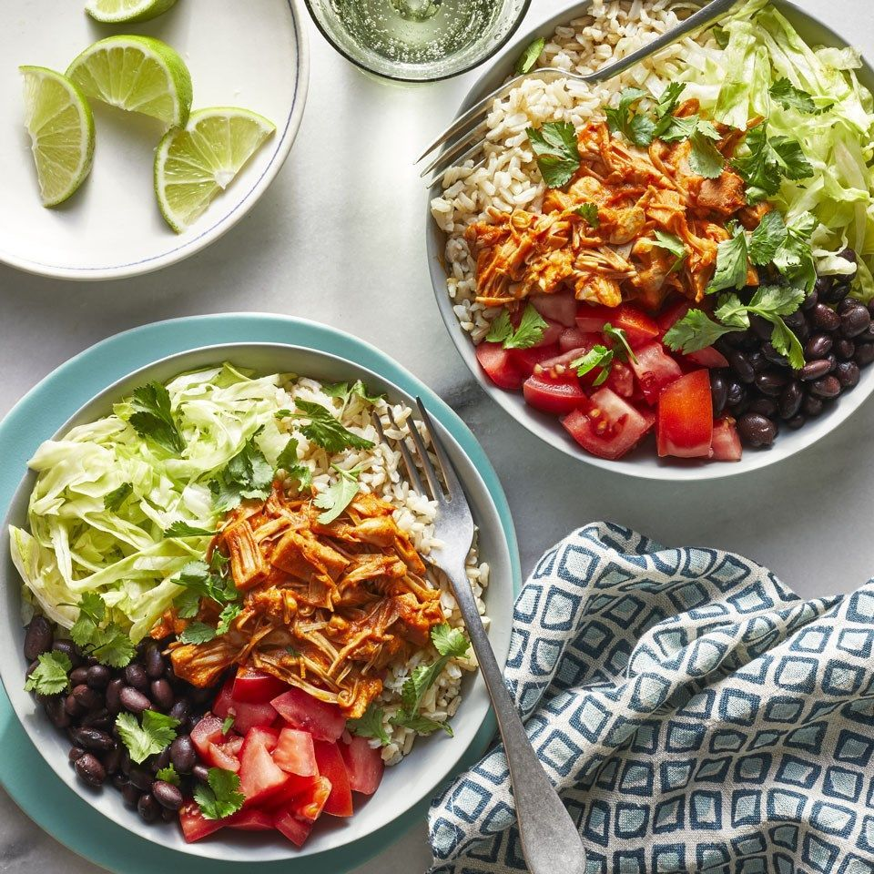 Barbacoa Burrito Bowls Jackfruit, a tropical fruit with a dense, chewy texture, is a blank canvas that takes on flavors well. In these vegan burrito bowls, the jackfruit is simmered in a warm and spicy chile sauce that's so good you'll never know you're eating a plant-based protein instead of pork or beef.Jackfruit, a tropical fruit with a dense, ...