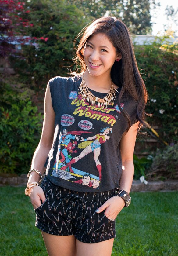 52646af4993a Wonder Woman shirt and Tribal shorts outfit | Super Hero Fashion in ...
