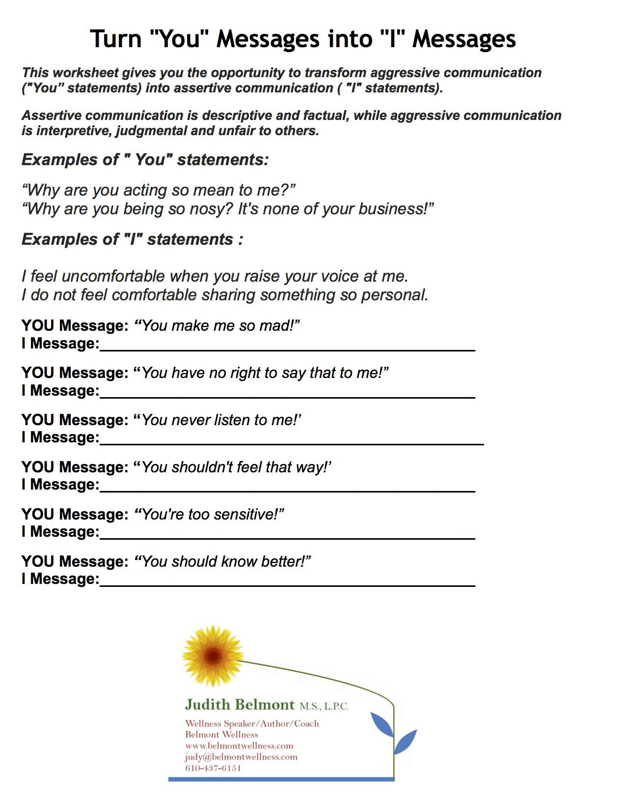 Couples Therapy Exercises Worksheets