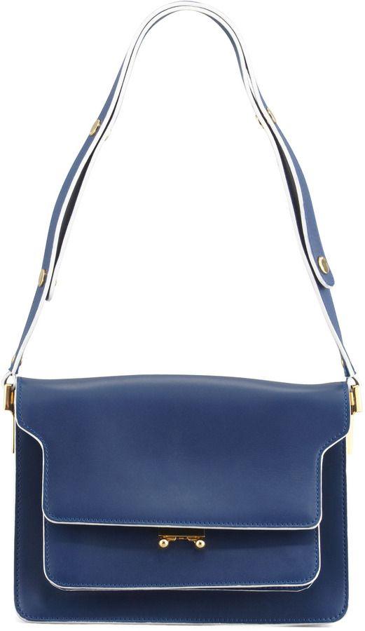 09b44053 Marni Flap Top Triple-Gusset Shoulder Bag, Navy on shopstyle.com | bag