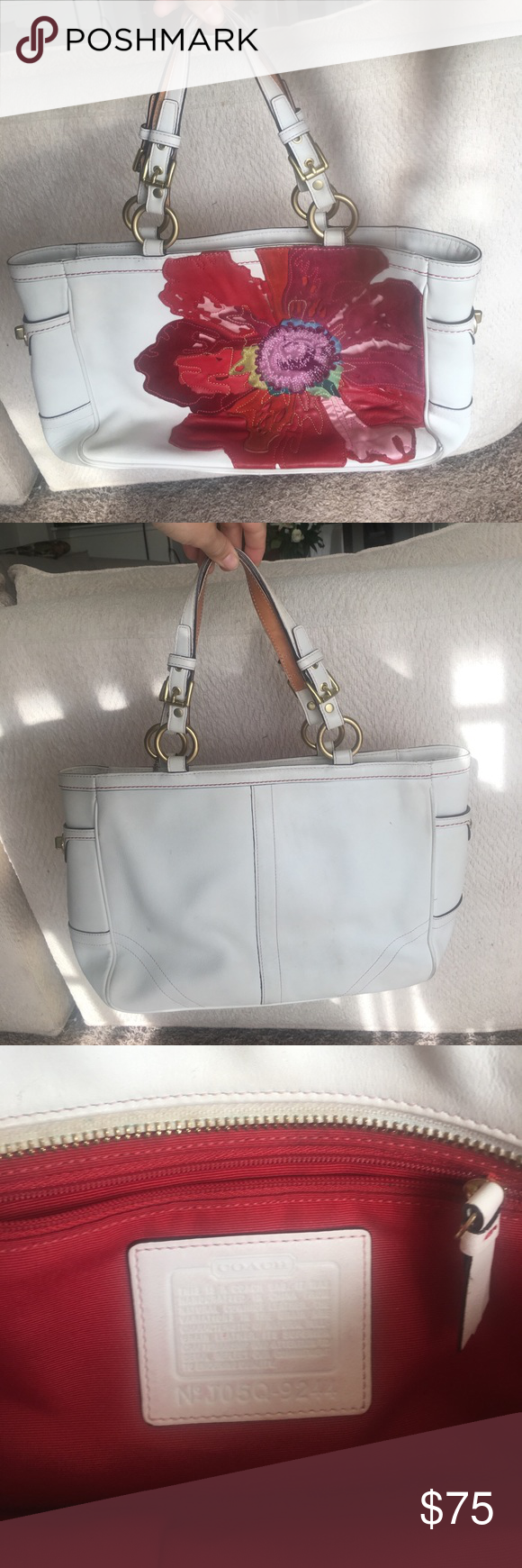 Authentic Coach Poppy Tote Bag With Flower White Leather Bag With