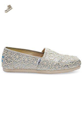 c0a452846db72 Toms Women's 10009299 Crochet Glitter Alpargata Flat, Silver, 6 M US ...