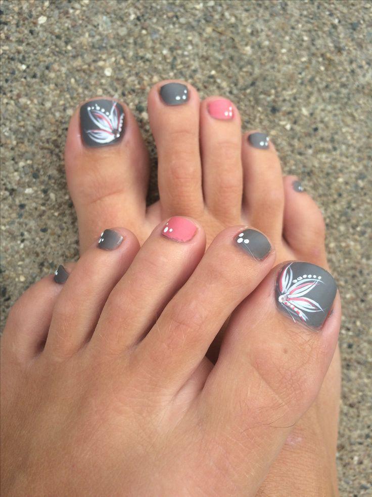 Grey/pink toe nails, flower design. - Grey/pink Toe Nails, Flower Design Hair Pinterest Pink Toe