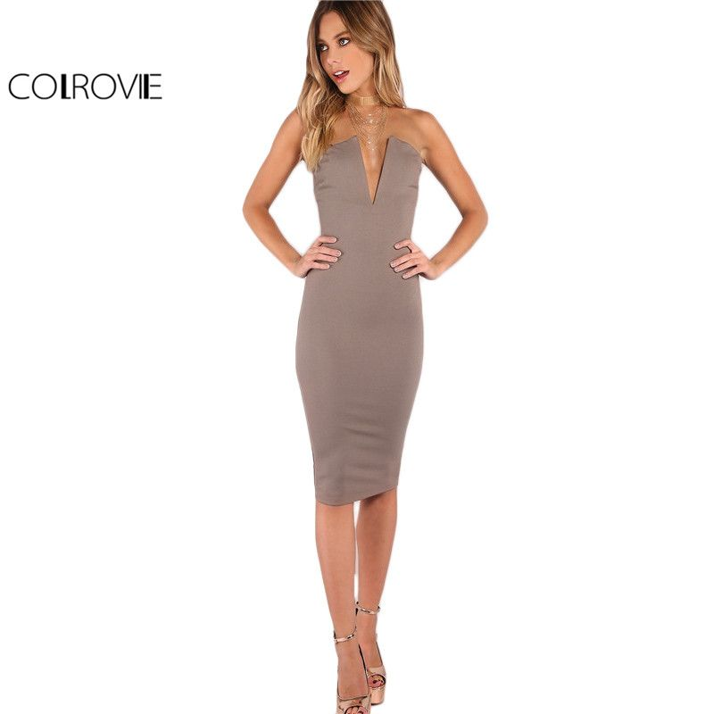 163e4abc288 COLROVIE Plunging Bust Strapless Elegant Bodycon Dress FREE Shipping   Fashion