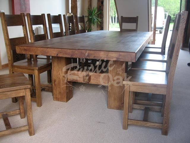Oak Beam H Base Dining Table   Rustic Oak Furniture
