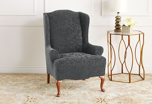Sure Fit Slipcovers Stretch Jacquard Damask Wing Chair Slipcover - Wing Chair