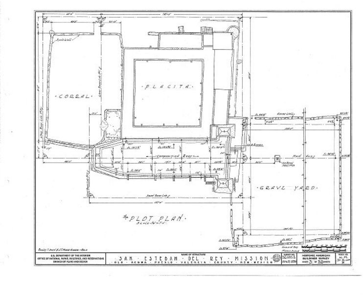 San Estevan Del Rey Acoma Pueblo Nm This Is The Plot Plan Of The Mission As Produced By The Historic California Missions Plot Plan United States Of America