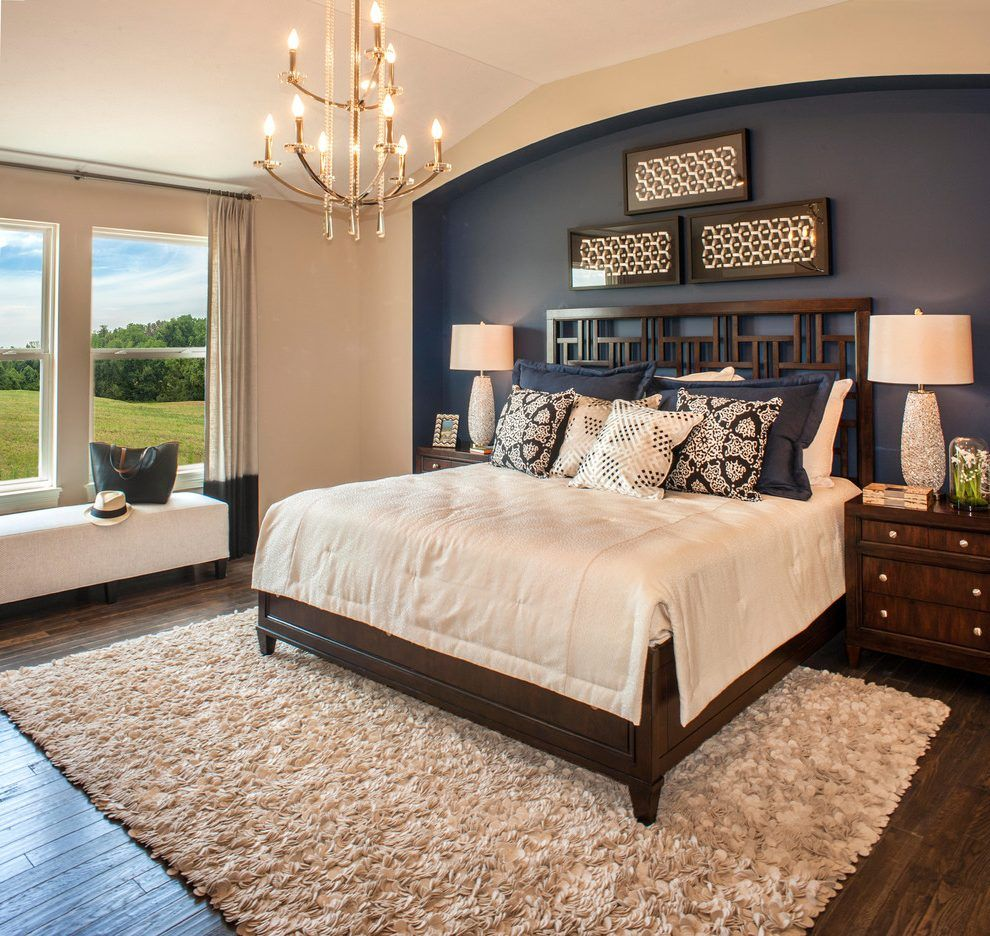 25 Stunning Transitional Bedroom Design Ideas: United States Navy Blue Accent Wall With Form Mirrors