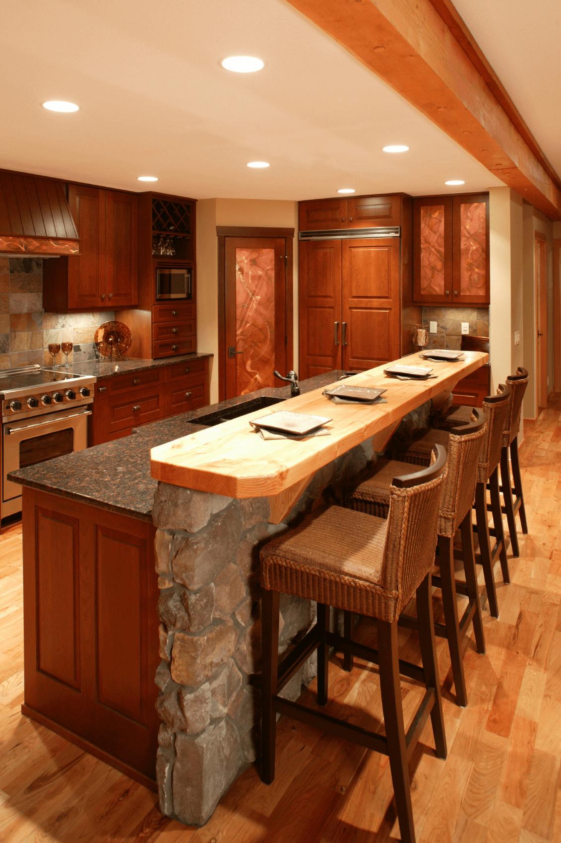 Rustic 2 Tier Kitchen Island With Breakfast Bar And Granite Top Topkitchendesigns Kitchen Bar Design Luxury Kitchen Island Luxury Kitchens