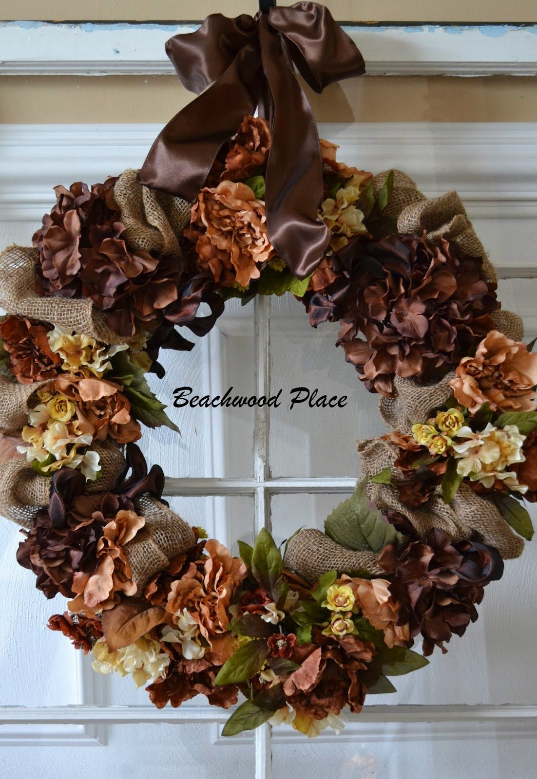 wire frame wreath with brown hydrangeas and burlap on favorite diy fall decorating ideas add life to your home id=50574